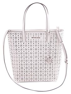 Michael Kors White/Silver Leather Tote Satchel in White