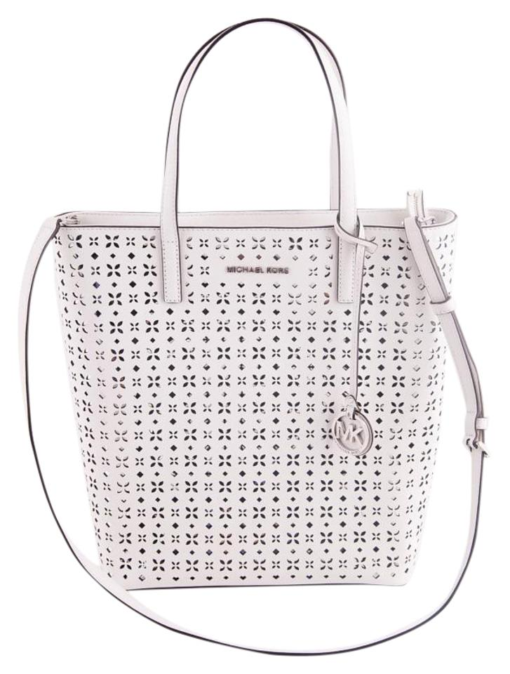 c4367d6803eb Michael Kors Tote Bag Hayley Large Perforated-leather White Leather ...