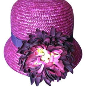 Ellen Tracy ELLEN TRACY PURPLE HAT ONE SIZE STRAW detachable YELLOW FLOWER NWT Bucket