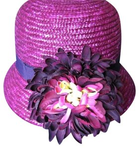 Ellen Tracy ELLEN TRACY PURPLE Bucket HAT ONE SIZE STRAW YELLOW FLOWER NWT