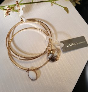Other Laila Rowe Gold Plated Bangles set of 3 Shell charm white charm ...