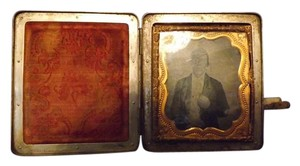 Antique Daguerreotype Beautiful Unusual Metal Daguerreotype Case with Picture