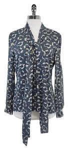 Tory Burch Slate Floral Print Silk Top