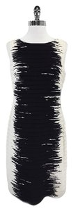 Lafayette 148 New York short dress Black Cream Print Tiered Silk on Tradesy