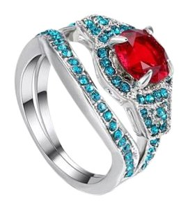 Other 2pc Red and Turquoise Sapphires And White Gold Filled Ring Set Sz 7