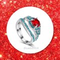 Other 2pc Red and Turquoise Sapphires And White Gold Filled Ring Set Sz 7 Image 1