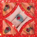 Other 2pc Red and Turquoise Sapphires And White Gold Filled Ring Set Sz 7 Image 2