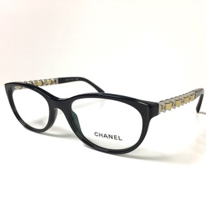 Chanel Leather Chain Link Black and Tan Optical Frame