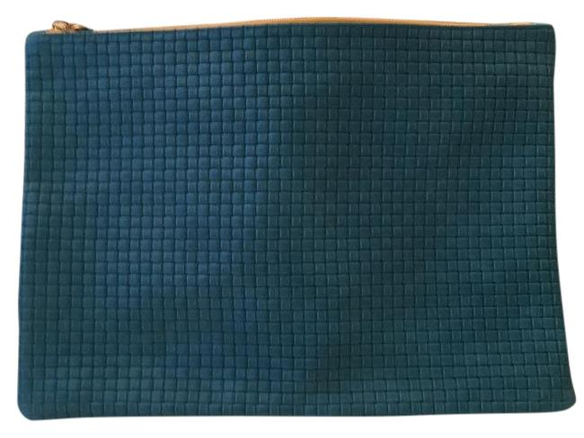 Item - Basket Weave Turquoise Leather Clutch