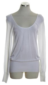 Cache Sheer Long Sleeve Scoop Neck Top White
