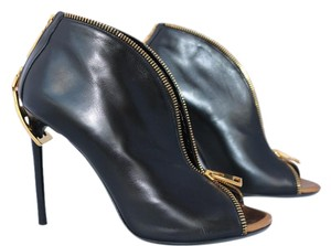 Tom Ford Leather Open Toe Zip Ankle Black Boots