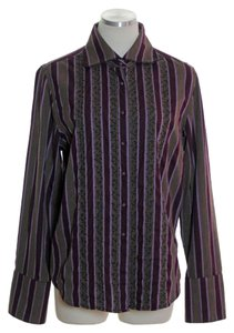Robert Graham Beaded Striped Button Down Shirt Brown purple