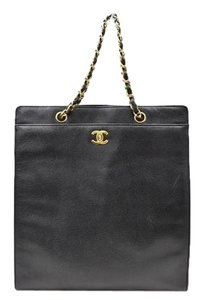Chanel Vertical Tote in Black Caviar Leather