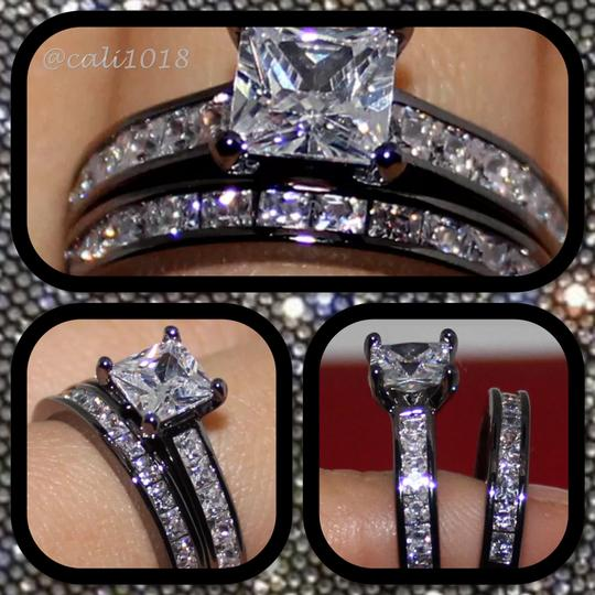 Other New White Sapphire Black Gold Filled Ring Set Sz 7, 9, 11 Image 1