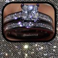 Other New White Sapphire Black Gold Filled Ring Set Sz 7, 9, 11 Image 2