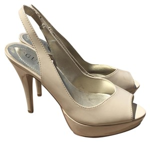 Guess Platform Peep Toe Nude Pumps