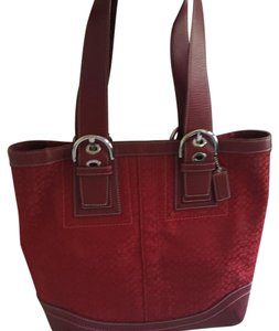 Coach Hot Summer Cherry Satchel in Red classic coach print