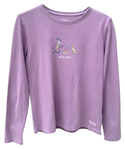 Life is Good Longsleeve Comfortable Relaxed Fit Cotton T Shirt Plum/Purple