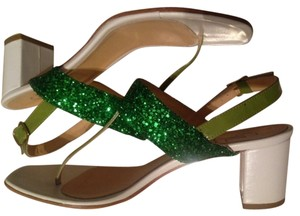 George J. Love White and green Sandals