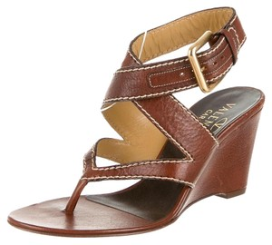 Valentino Leather Brown Wedges