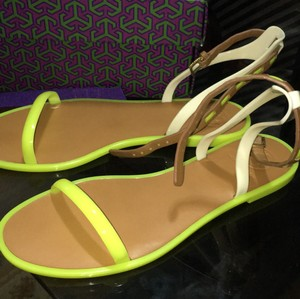 Tory Burch Yellow brown white Sandals