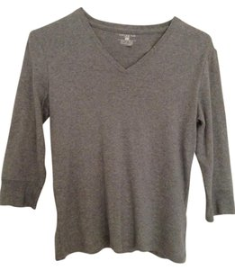 Jones New York Grey 3/4 Sleeve Comfortable V-neck Sweater
