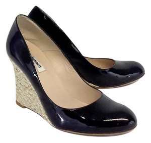 Donald J. Pliner Black Patent Leather Wedges