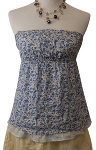 Hollister Strapless Floral Top Blue/White
