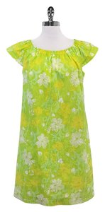 Lilly Pulitzer short dress Green Yellow Floral Cap Sleeve on Tradesy