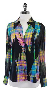Escada Multi Color Silk Button Up Top