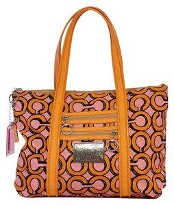 Coach Orange Pink Signature Tote