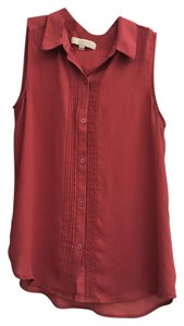 Ann Taylor LOFT Sleeveless Button Down Shirt Mauve