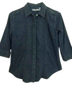 Gloria Vanderbilt Stretch 3/4 Sleeves Button Down Top Dark Denim Blue