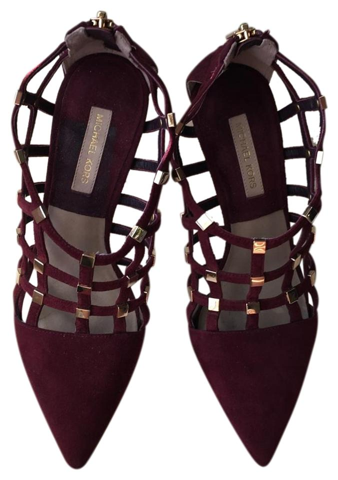 19ce4d567536 Michael Kors Burgundy Agnes Caged Cutout High Heel Pointy Toe ...