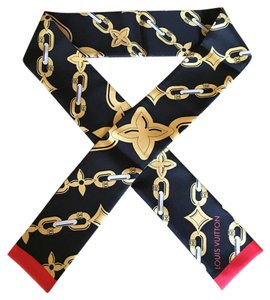 Louis Vuitton Louis Vuitton Black Bay Chain Bandeau Silk Scarf Limited Edition