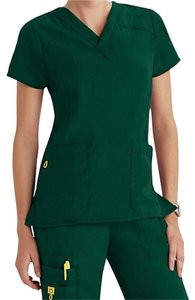 WONDERWINK 4-STRETCH Scrub Top Top Hunter Green