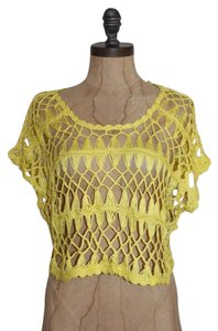 Anthropologie Crop Open Knit Top YELLOW
