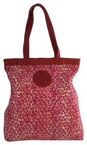 Tory Burch Emblem Monogram Tote in Red & Pink