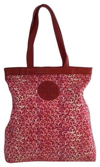Tory Burch Emblem Monogram Leather Canvas Tote in Red & Pink