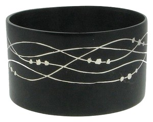 MAYA JEWELS GORGEOUS - Blackened bronze with inlaid silver wide bangle bracelet