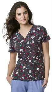 WONDERWINK 4-STRETCH Scrub Top Top Hieroglyphics Print (Gray, Black, Red, Pink, Blue, White)
