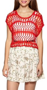 Anthropologie Crop Open Knit Crochet Top RED