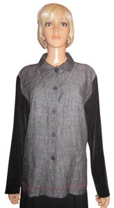 Chico's Button Down Shirt Black & Gray