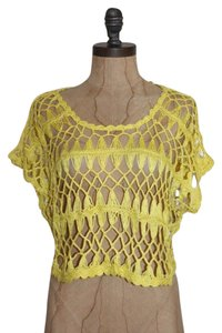 Anthropologie Crop Open Knit Crochet Top YELLOW
