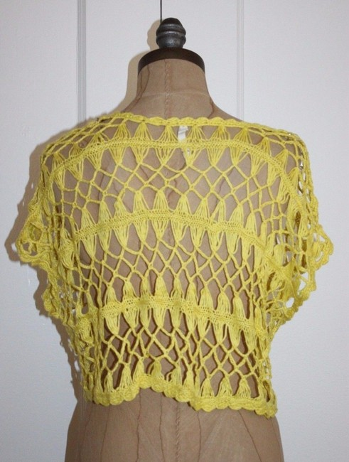 Willow & Clay Crop Open Knit Crochet Anthropologie Top YELLOW Image 2