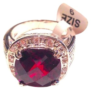 Jewelry Designs Ruby Red Crystal Pave Cocktail Ring Size 9