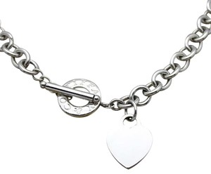 Tiffany & Co. Tiffany & Co. Round Link Necklace With Heart Tag, Sterling Silver