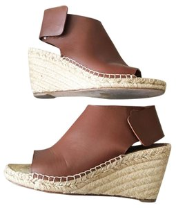 Céline Celine Leather Wedge Brown Sandals