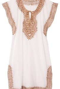 Cotton Metallic Trim Caftan from Morocco short dress White on Tradesy