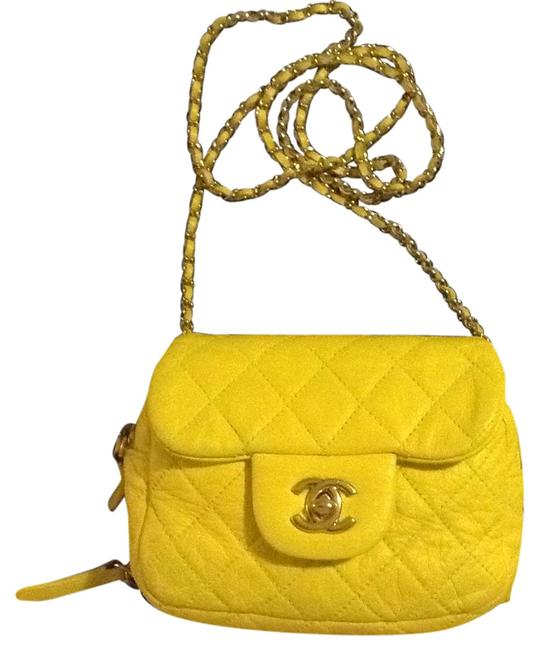 Item - 2.55 Reissue Classic Mini Woc Wallet On A Chain Flap Quilted Yellow Lambskin Leather Cross Body Bag